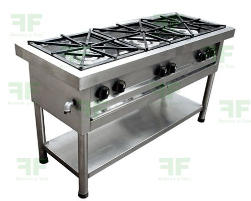 cocina industrial 3 fogones tres puestos en acero inoxidable