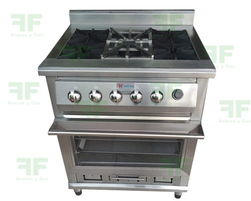 concina industrial con horno en acero