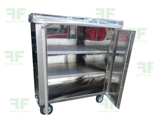 carro transporte de alimentos hospitalario en acero