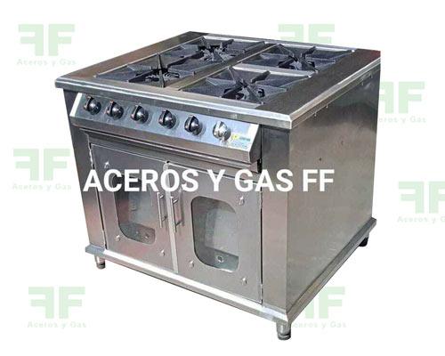 cocina industrial estufa 4 puestos con horno en acero