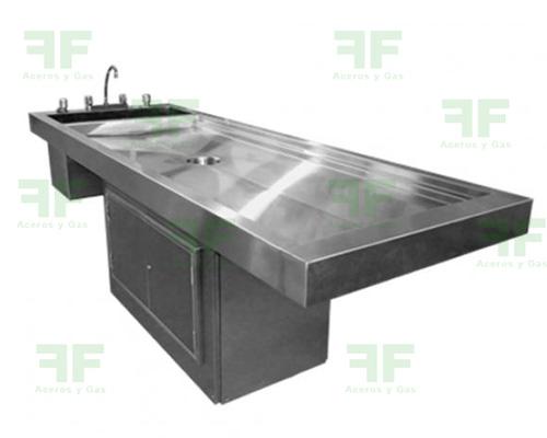 mesa de lavado hospitalario en acero