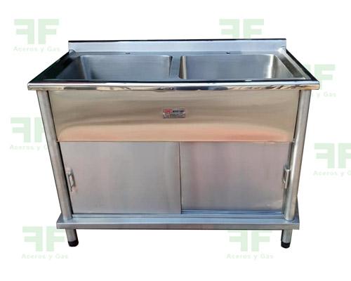 mesón de lavado en acero lavaplatos doble industrial